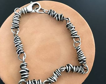 Sterling Silver Twisted Wire Links Bracelet