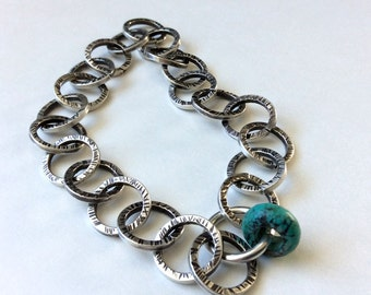 Textured Sterling Silver Link Bangle Bracelet with Turquoise for Protection