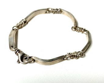 Sterling Silver Rustic Textured Segments Links Bracelet can be personalized