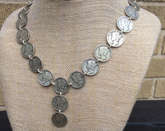 Vintage Silver Mercury Dime Necklace
