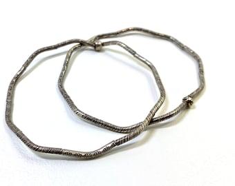 Pair of Fine Silver Stretch Bangle Bracelets