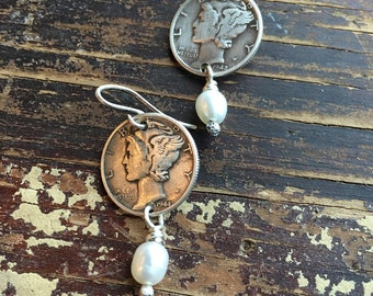 Sterling Silver Mercury Dime and Pearl Dangle Earrings