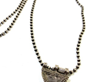 Sterling Silver Ethiopian Telsum Bead Necklace for Evil Eye Protection