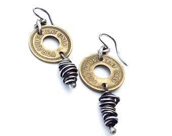 Vintage Amusement Token Brass Sterling Silver Earrings