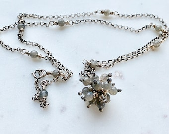 Labradorite and Sterling Silver Bauble Necklace