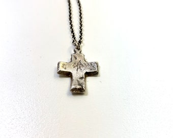 Amulet Series Hand Cast Cross Pendant Sterling Silver Necklace