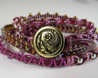Wrap Bracelet in Gold, Burgundy,  and Pinks