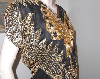 1980's Black Silk Pullover Top, Gold Sequined Butterfly Evening Wear - Size M