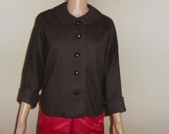 Brown Wool Lined 50's Jacket w/Dolman Sleeves - Size M