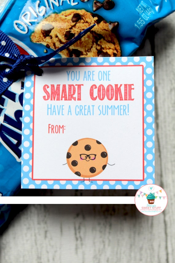 photo relating to You're One Smart Cookie Printable named Close of College or university Calendar year Tag, Wise Cookie Tag, Printable Tag