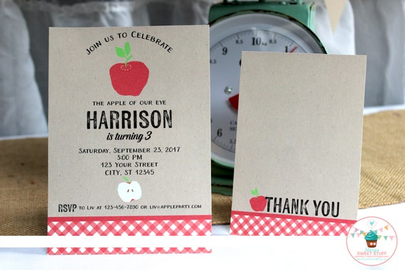 Apple Birthday Invitation Red Invite Party Fall Printable DIY
