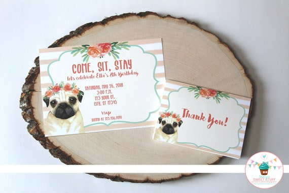 Pug Birthday Invitation Dog Puppy Printable Girl Invite DIY