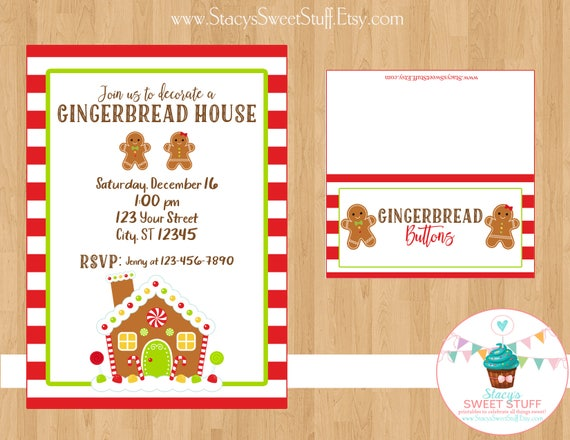 Gingerbread House Invitation Gingerbread House Invite Gingerbread