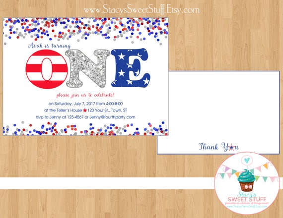 4th Of July Birthday Invitation Little Firecracker Independence Day Invite DIY Printable