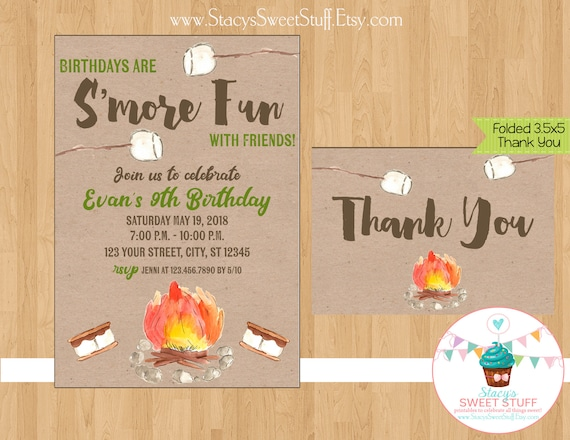 Smore Birthday Invitation Invite Party Camping Bonfire InvitationPrintable