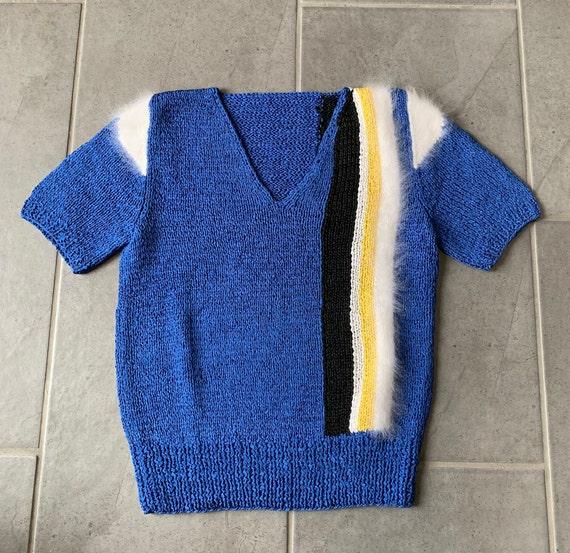 Vintage 1980's sweater, vintage 80's short sleeve