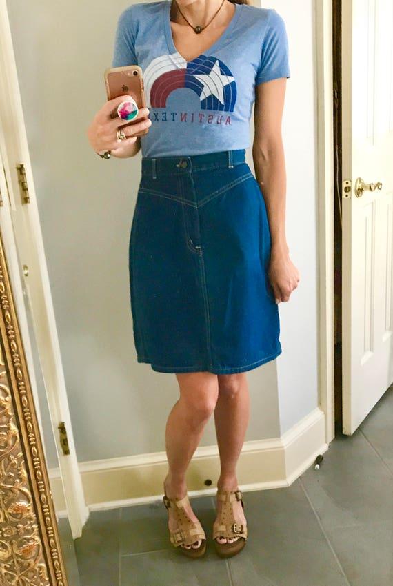 Vintage 1970's Chic jeans skirt, 1970s jean skirt,