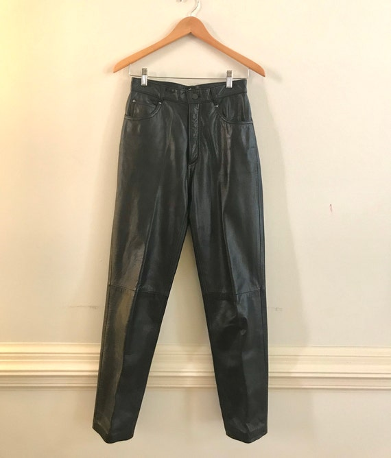 Vintage 1980's leather pants, high rise leather pa