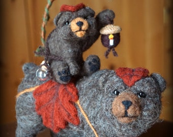 Needle felted Animal Bears Needlefelted Soft Sculpture Animal by Bella McBride