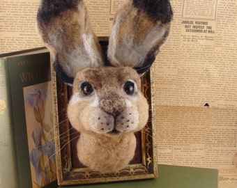 RESERVED Needle Felted One of a kind Hare Rabbit Faux Taxidermy Animal Soft Sculpture by Bella McBride of McBride House