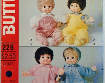"""Butterick Craft Pattern 226 - Baby Doll Clothes, M(16""""- 18"""" doll),  Overalls, Dress, Gown, Bonnet, Bunting, Pinafore"""