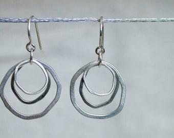 Topography tripple hoop earring - modern dangle hoops, organic earrings