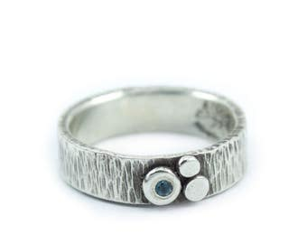"""Silver Ring Textured in Ripple pattern outdoorsy but elegant with trio of silver """"pebbles"""" detail - Trio Ripple Ring"""