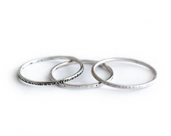 Textured Silver Extra Thin Band - thin stacking ring