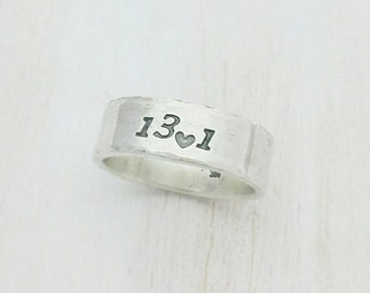 Custom Running Ring - Half Marathon, Marathon, 5k Running Silver Ring Band - I Love Running