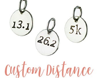 Running Charm - Custom distance running charm - 10k Cross country running jewelry