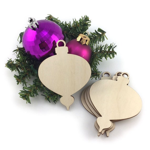 Wooden Christmas Ornament 5pc Unfinished Laser Cut Etsy