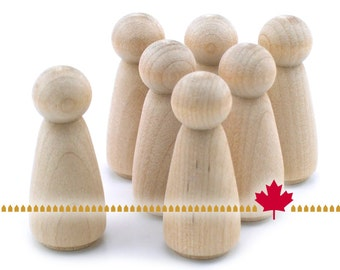"""Wood Peg Doll - 25pc - 2"""" tall Angel - Unfinished Natural Wooden Person #AN200 - DIY Ready to Paint Kid's Waldorf Crafts"""