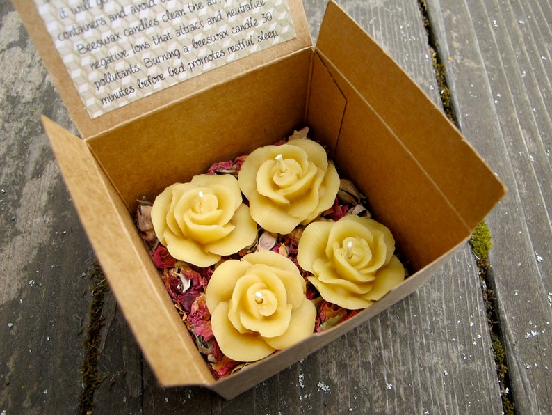 4 Floating YELLOW ROSE Beeswax Candles - Sunglow Yellow