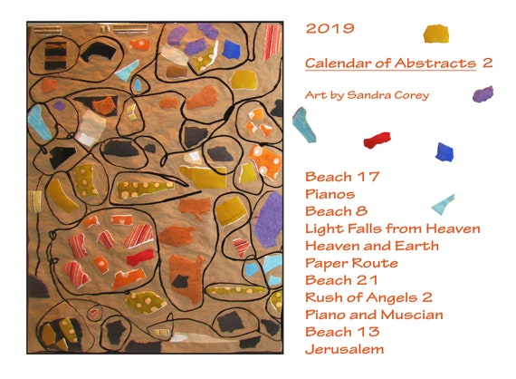 Calendar 2019 Abstracts 2 Art Wall Calendar Art By Sandra Corey Etsy