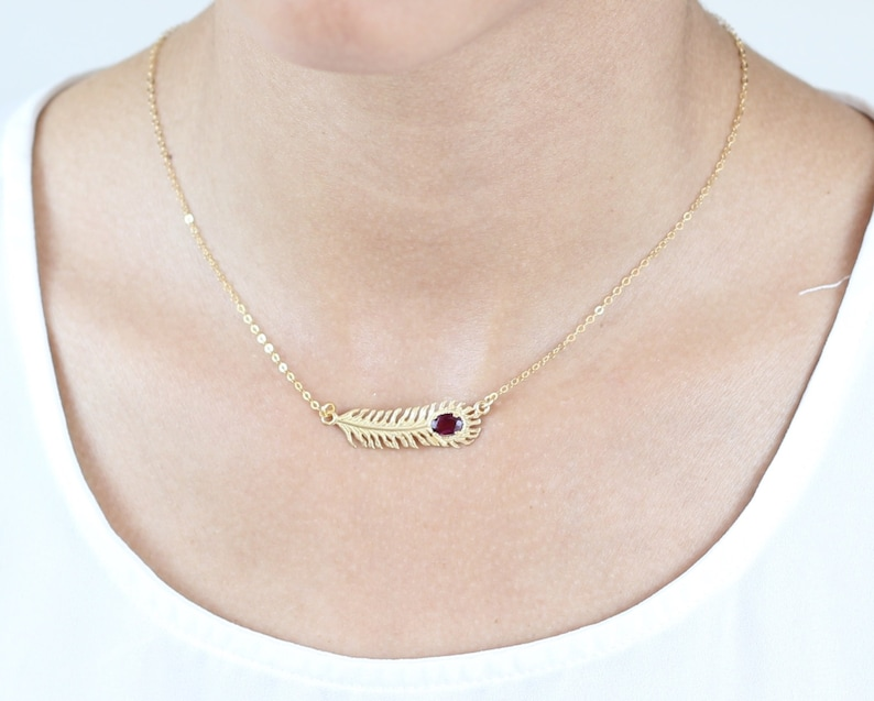 Layering feather Silver Feather Necklace Feather necklace set with Rhodonite sterling Silver or gold plated Feather Necklace