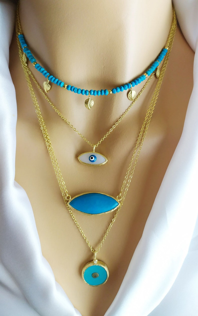 Boho Chic gold necklace protects  evil eye .Christmas Jewelry Fall New style Mother of pearl Eye Pendant .Layers Eye Pendant in Gold