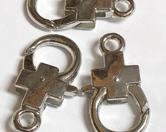 Large Cross Lobster Clasp Antique Platinum color Component jewelry Supplies 3 pieces