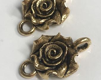 Rose Connector Link Rose Flower Art Supplies Jewelry components link Antique Gold 2 pcs (PL12)