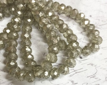 7 x 5mm Light Smoky Mercury Glass Rondelles Czech glass Beads 25 pieces BOHO Supplies #12