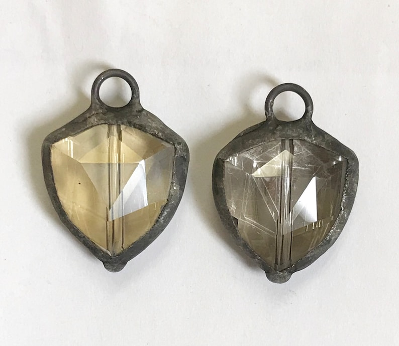 Molten Soldered Shield Champagne or Gray Crystal Pendant Charm Bohemian Metalwork Metalsmith Mixed Metals earring components bracelet 1 pc