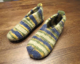 Felted wool slippers/ shoes, woman size 9