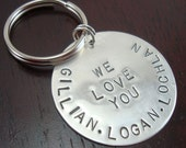 Hand Stamped Personalized Keychain - Sterling Silver