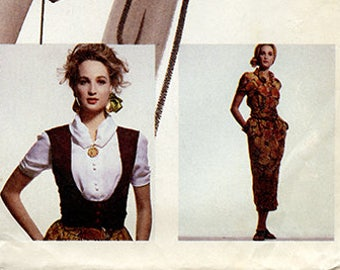 Vintage McCalls 4308 NY Collection Women's Vest, Blouse and Skirt UNCUT Sewing Pattern Size 12 Waist 26.5 Small