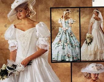 McCalls 7505 UNCUT Wedding Gown Sewing Pattern Bridal Bridesmaid Dress Size 8 Small XS