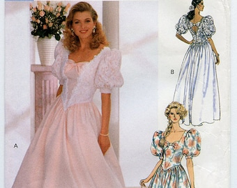 Vintage 90s Formal Party Dress Glamour Collection 4563 - Wedding or Bridesmaid Gown UNCUT Sewing Pattern Sizes 6-8-10 XS S
