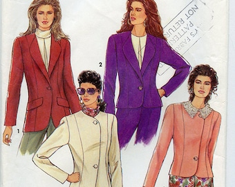 Vintage 90s Simplicity 7387 Womens Blazer Jacket UNCUT Sewing Pattern Sizes 6-14