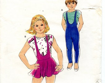 Vintage Kwik Sew 1668 Girls' Unitard Leotard and Top UNCUT Sewing Pattern Sizes 8 10 12 14 for Dance Skating