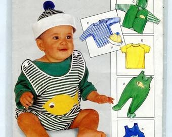 Burda 4575 Baby Romper Short Playsuit, Tshirt,Long Sleeve Shirt, Jacket, Cap with Fish Applique UNCUT Sewing Pattern Sizes 3M 6M 9M 12M