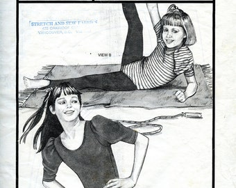 Vintage Stretch & Sew 979 Girls' Puff Sleeve Leotard UNCUT Pattern for Dance Exercise Small Medium Large