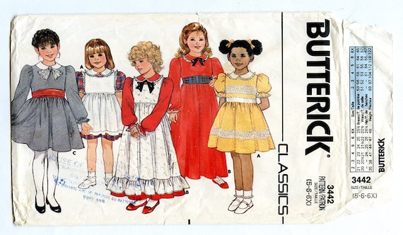 162ef9bcb4 Vintage 80s Butterick 3442 Girls Party Dress   Pinafore UNCUT